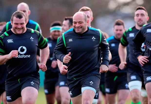 Ireland's Rory Best (centre) leads the players in a warm up during the training session ahead of the Grand Slam showdown. Photo: Brian Lawless/PA