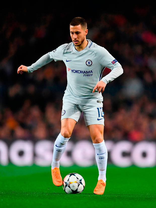 Chelsea's Eden Hazard runs with the ball during the UEFA Champions match aganst Barcelona. Photo: David Ramos/Getty Images