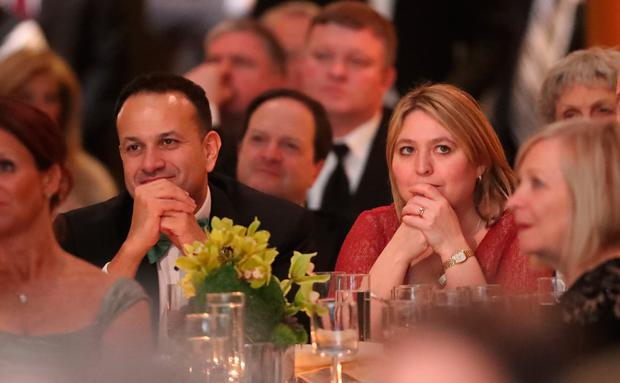 Taoiseach Leo Varadkar and Northern Ireland Secretary of State Karen Bradley at the American Ireland Gala Fund dinner at the National Building Museum in Washington DC as part of his week long visit to the United States of America. Photo: Niall Carson/PA Wire