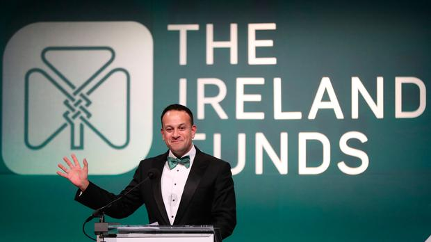 Taoiseach Leo Varadkar speaking at the American Ireland Gala Fund dinner in Washington DC as part of his week long visit to the United States of America. Photo: Niall Carson/PA Wire