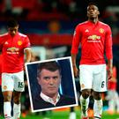Marcus Rashford and Paul Pogba after Sevilla defeat and (inset) Roy Keane