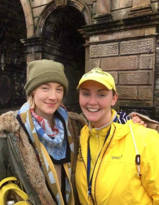 Saoirse Ronan with tour guide Charlene Blackburn