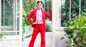 Model Abbie wears a Flare Trouser in Red, €35, Fashion Jacket, €48, Rodeo Washed T-Shirt, €20 and Chic Pointed Court Shoe, €38 pictured at V by Very, exclusive to Littlewoods Ireland, launch their latest Spring Summer '18 Collection in the Botanic Gardens Dublin.Photo: Leon Farrell/Photocall Ireland