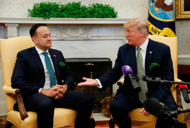 U.S. President Donald Trump welcomes Ireland's Prime Minister (Taoiseach) Leo Varadkar in the Oval Office of the White House in Washington, U.S., March 15, 2018. Reuters: Kevin Lamarque