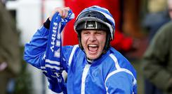 Paul Townend celebrates after winning the 15:30 Sun Bets Stayers' Hurdle REUTERS/Darren Staples