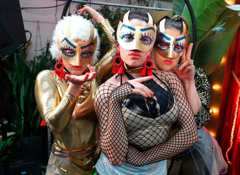 Deirdre Griffin, Kate Finnegan and Marion Cronin of performance group headonbody at the Electric Picnic 2018 launch. Photo: Damien Eagers