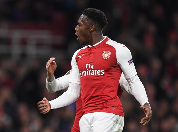 Danny Welbeck of Arsenal celebrates his penalty during the UEFA Europa League Round of 16 Second Leg match between Arsenal and AC Milan at Emirates Stadium on March 15, 2018 in London, England. (Photo by Shaun Botterill/Getty Images)