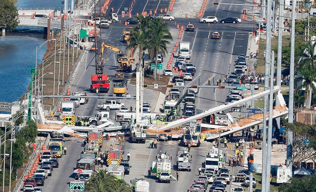 Aerial view shows a pedestrian bridge collapsed at Florida International University in Miami, Florida, U.S., March 15, 2018. REUTERS/Joe Skipper