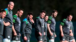 Ireland players prepare to run a training drill at Carton House. Photo: Brian Lawless/PA Wire
