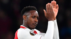 Danny Welbeck applauds the Arsenal supporters after Arsenal's victory over AC Milan at the Emirates Stadium. Photo: Getty Images