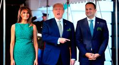 President Donald Trump with first lady Melania Trump welcomes Prime Minister Leo Varadkar of Ireland, upon arrival at the White House. (AP Photo/Manuel Balce Ceneta)