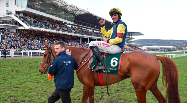 15 March 2018; Jockey Davy Russell reacts after winning the Brown Advisory & Merriebelle Stable Plate on The Storyteller on Day Three of the Cheltenham Racing Festival at Prestbury Park in Cheltenham, England. Photo by Seb Daly/Sportsfile