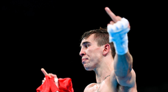 16 August 2016; Michael Conlan of Ireland following his Bantamweight Quarter final defeat to Vladimir Nikitin of Russia at the Riocentro Pavillion 6 Arena during the 2016 Rio Summer Olympic Games in Rio de Janeiro, Brazil. Photo by Stephen McCarthy/Sportsfile