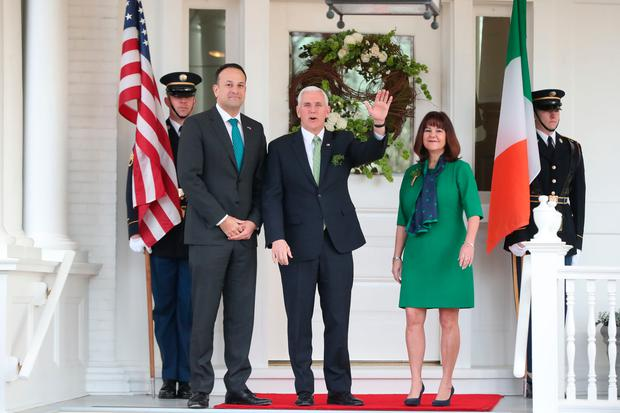 Taoiseach Leo Varadkar is greeted by US Vice-President Mike Pence and wife Karen at a breakfast event at the Vice-President's Residence in Washington DC, USA. Photo: Niall Carson/PA Wire