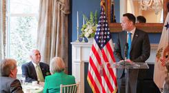 Taoiseach Leo Varadkar addresses Vice President Mike Pence during his speech at the St Patrick's Day breakfast (picture provided by the Taoiseach's office)