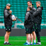 Joe Schmidt with his coaching staff, kicking coach Richie Murphy, defence coach Andy Farrell and forwards coach Simon Easterby deep in conversation at Twickenham yesterday. Photo: Brendan Moran/Sportsfile