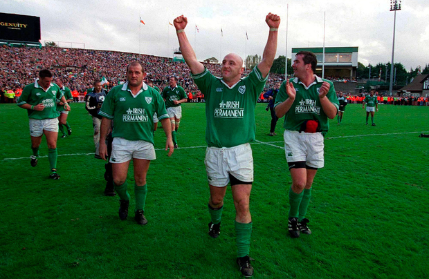 Keith Wood leads his Irish team on a lap of honour after beating England in 2001 – something he later said he regretted. Picture: Brendan Moran/Sportsfile