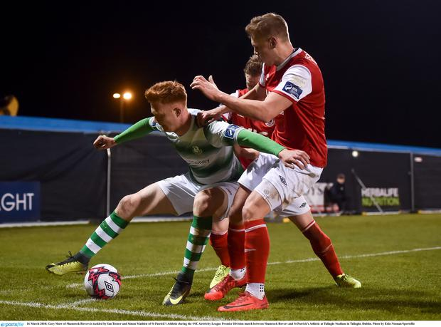 16 March 2018; Gary Shaw of Shamrock Rovers is tackled by Ian Turner and Simon Madden of St Patrick's Athletic during the SSE Airtricity League Premier Division match between Shamrock Rovers and St Patrick's Athletic at Tallaght Stadium in Tallaght, Dublin. Photo by Eóin Noonan/Sportsfile