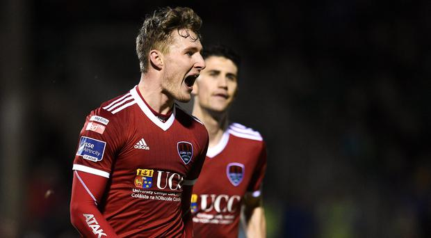 16 March 2018; Kieran Sadlier of Cork City celebrates after scoring his side's first goal during the SSE Airtricity League Premier Division match between Limerick FC and Cork City at Market's Field in Limerick. Photo by Matt Browne/Sportsfile