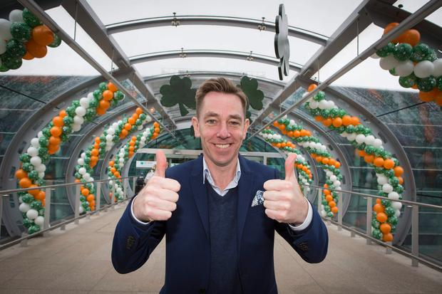 Ryan Tubridy at Dublin Airport on his way to Cheltenham