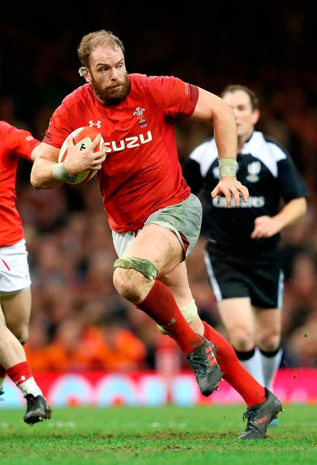 Wales' Alun Wyn Jones makes a break. Photo: David Davies/PA