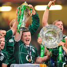 Brian O'Driscoll and the Grand Slam-winning team of 2009. Photo: Sportsfile
