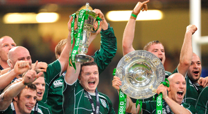 21 March 2009; Ireland captain Brian O'Driscoll and his team-mates celebrate with the Triple Crown trophy and the RBS Six Nations trophy. RBS Six Nations Championship, Wales v Ireland, Millennium Stadium, Cardiff, Wales. Picture credit: Brendan Moran / SPORTSFILE