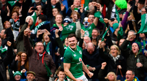 10 March 2018; Jacob Stockdale of Ireland celebrates after scoring his side's second try during the NatWest Six Nations Rugby Championship match between Ireland and Scotland at the Aviva Stadium in Dublin. Photo by Ramsey Cardy/Sportsfile