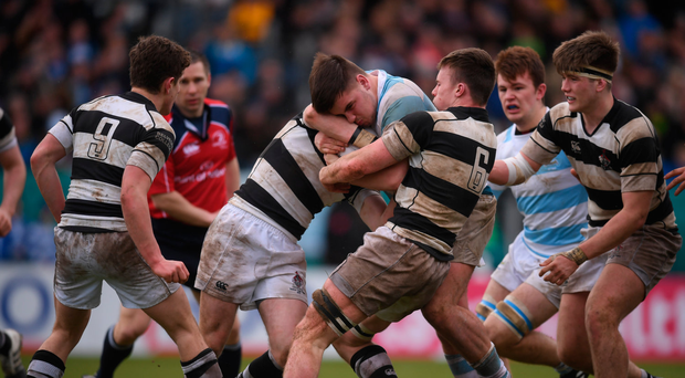17 March 2017; Giuseppe Coyne of Blackrock College is tackled by David Hawkshaw and Conor Doran, 6, of Belvedere College during the Bank of Ireland Leinster Schools Senior Cup Final match between Belvedere College and Blackrock College at RDS Arena in Dublin. Photo by Stephen McCarthy/Sportsfile