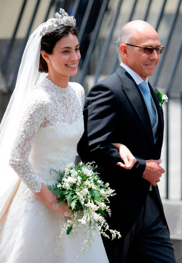 Alessandra de Osma arrives with her father Ernesto de Osma to her wedding with Prince Christian of Hanover at Basilica San Pedro on March 16, 2018 in Lima, Peru. (Photo by Raul Sifuentes/Getty Images)