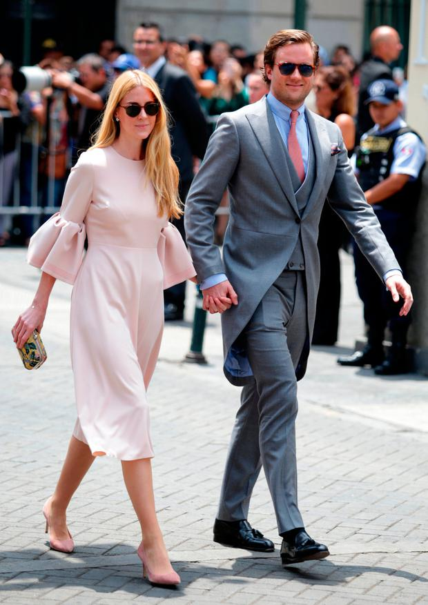 Beatrice Borromeo and Pierre Casiraghi arrive to the wedding of Prince Christian of Hanover and Alessandra de Osma at Basilica San Pedro on March 16, 2018 in Lima, Peru. (Photo by Leonardo Fernandez/Getty Images)