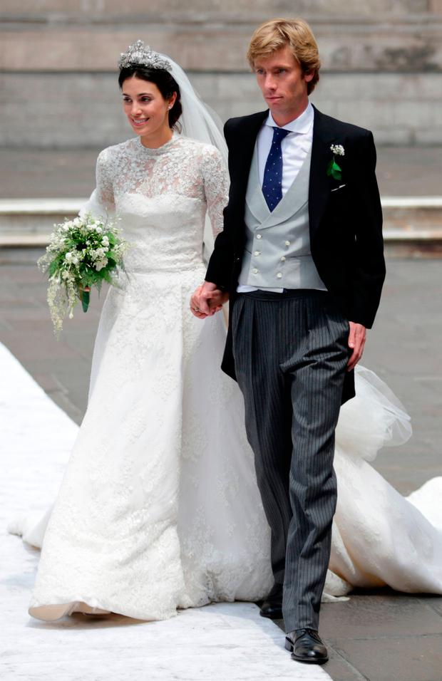 Alessandra de Osma and Prince Christian of Hanover leave the church after their wedding at Basilica San Pedro on March 16, 2018 in Lima, Peru. (Photo by Raul Sifuentes/Getty Images)