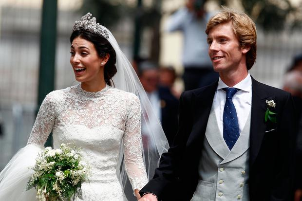 Alessandra de Osma and Prince Christian of Hanover walk after their wedding of Prince Christian of Hanover and Alessandra de Osma at Basilica San Pedro on March 16, 2018 in Lima, Peru. (Photo by Leonardo Fernandez/Getty Images)