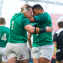 24 February 2018; Cian Healy of Ireland is congratulated by team mate Bundee Aki after he scored their side's fourth try during the NatWest Six Nations Rugby Championship match between Ireland and Wales at the Aviva Stadium in Lansdowne Road, Dublin. Photo by David Fitzgerald/Sportsfile