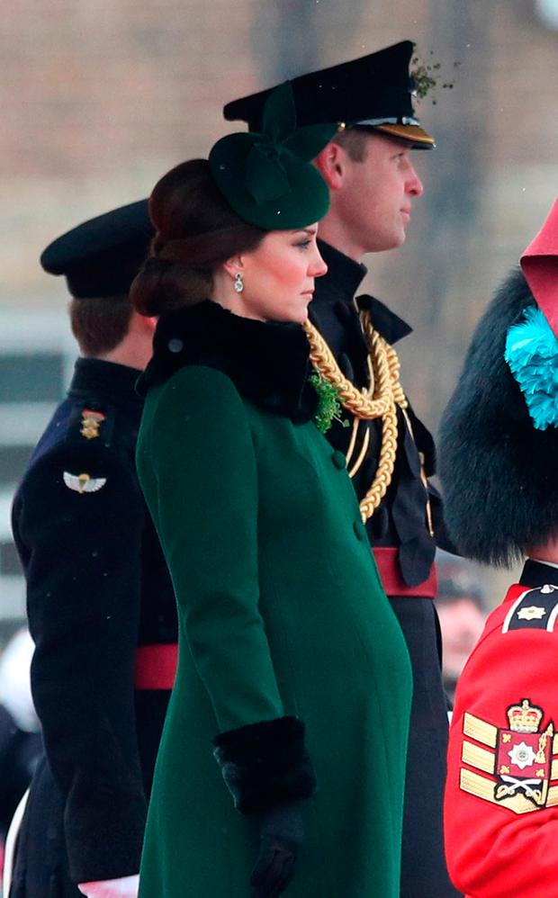 The Duchess of Cambridge and the Duke of Cambridge attend the Irish Guards St Patrick's Day parade at Cavalry Barracks in Hounslow