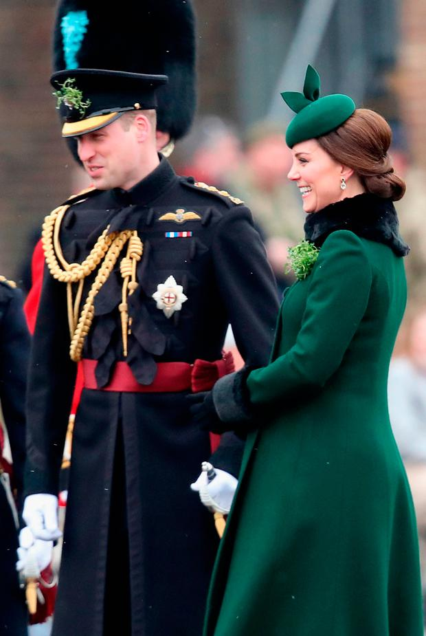 Catherine, Duchess of Cambridge and Prince William, Duke Of Cambridge attend the annual Irish Guards St Patrick's Day Parade at Cavalry Barracks on March 17, 2018 in Hounslow, England. (Photo by Chris Jackson/Getty Images)