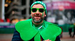 An Ireland fan before the NatWest 6 Nations match at Twickenham Stadium, London. PRESS ASSOCIATION Photo. Picture date: Saturday March 17, 2018. See PA story RUGBYU England. Photo credit should read: Paul Harding/PA Wire. RESTRICTIONS: Editorial use only, No commercial use without prior permission.