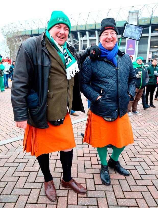Ireland fans prior to the NatWest 6 Nations match at Twickenham Stadium, London. PRESS ASSOCIATION Photo. Picture date: Saturday March 17, 2018. See PA story RUGBYU England. Photo credit should read: Gareth Fuller/PA Wire. RESTRICTIONS: Editorial use only, No commercial use without prior permission.