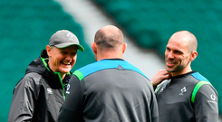 Ireland head coach Joe Schmidt, left, with captain Rory Best of Ireland and strength & conditioning coach Jason Cowman