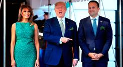 President Donald Trump with first lady Melania Trump welcomes Taoiseach Leo Varadkar of Ireland, upon arrival at the White House, Thursday, March 15, 2018, in Washington. (AP Photo/Manuel Balce Ceneta)