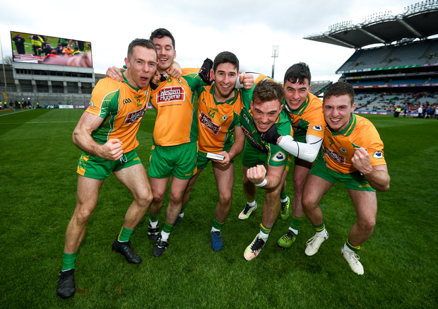 17 March 2018: Corofin celebrate after the AIB GAA Football All-Ireland Senior Club Championship Final match between Corofin and Nemo Rangers at Croke Park in Dublin. Photo by Stephen McCarthy/Sportsfile