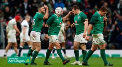 Ireland's Rob Kearney, Rory Best and team mates celebrate their third try