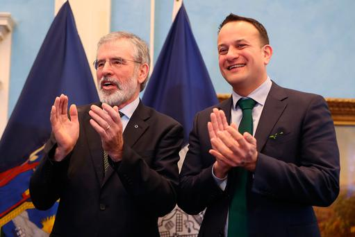 Gerry Adams (left) with Taoiseach Leo Varadkar at a St Patrick's Day breakfast event at Gracie Mansion in New York Photo: Niall Carson/PA Wire