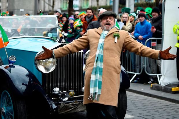 Actor Mark Hamill arrives at the St. Patrick's Day parade in Dublin, Ireland, March 17, 2018. REUTERS/Clodagh Kilcoyne