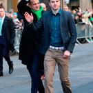 Irish Taoiseach Leo Varadkar (left) and his partner Matt Barrett walk in the St Patrick's Day parade on 5th Avenue in New York City Credit: Niall Carson/PA Wire