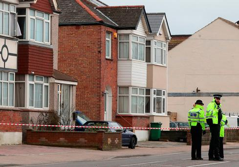Police at the scene where two women were shot dead at a house in St Leonards, East Sussex Credit: Gareth Fuller/PA Wire