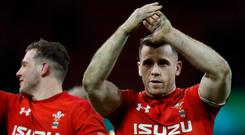 Wales' Gareth Davies celebrates after the match