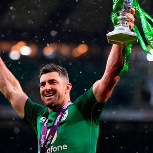 Rob Kearney celebrates with the Six Nations trophy after Ireland's 24-15 victory over England at Twickenham yesterday. Photo: Getty Images