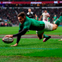 Jacob Stockdale touches down Ireland's third try. Photo: Getty Images