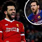 Mo Salah and (inset) Messi